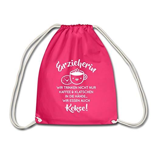 Erzieherin Spruch Trinken Nicht Nur Kaffee Turnbeutel, Fuchsia