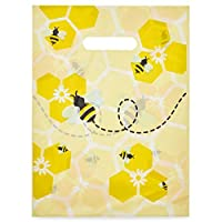 Bumble Bee Party Gift Bags, Merchandise Bags with Handles (9 x 12 in, 100 Pack)