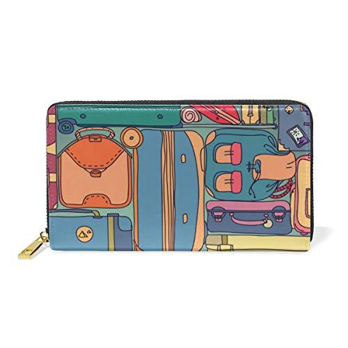 FANTAZIO - Maletas de mano para mujer con diseño vintage y pegatinas, para tarjetas de visita