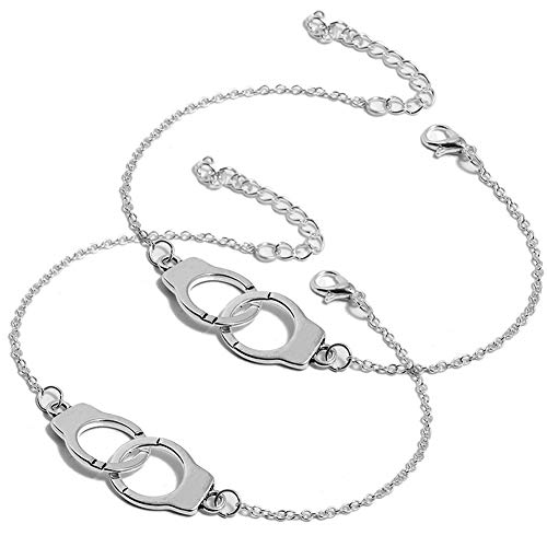 Armband Handschellen, Mode Silber-Farben-Handschellen Armband Retro Verstellbar Armbänder Kettenarmband Schmucksachen Für Mädchen Paar oder Freundschaft