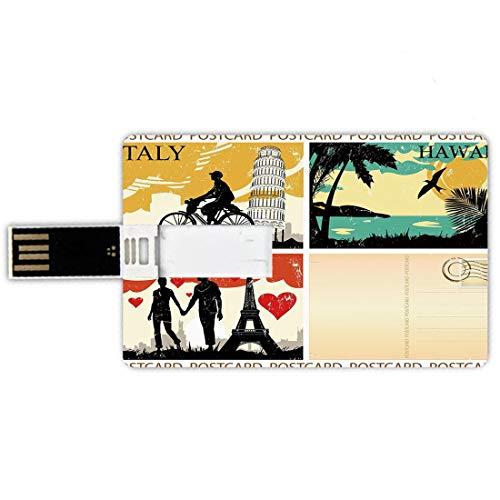 USB-Sticks 16GB Kreditkartenform Retro Memory Stick-Bankkartenstil Postkarten aus Italien Hawaii Paris Exotische Orte in der Welt Zeiten Drucken Dekorativ,Mehrfarben wasserdichte Stift da