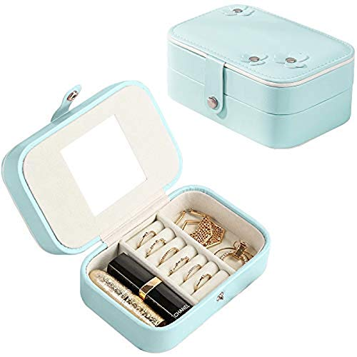 YILUXIANG Jewellery Box Organizer 2-Layer Small Travel Jewellery Case for Rings Earrings Necklace Premium Jewellery Gift Box Great gift for female friends Blue