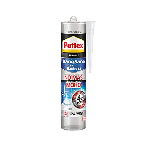 Pattex 1994668 Antimoho e Impermeable, Duradera para Cocina y Baño, Resistente Silicona Sanitaria, Transparente, 1 cartucho x 280 ml