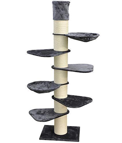 nanook 40441 Katzen Wandkratzbaum Kratzbaum XXL - 260 cm - grau - platzsparend - für Wandmontage - deckenhoch