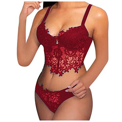 XUEbing Sexy Set Sexy Lace Bra y Panty Set Bordado Encaje Collar Sujetador Inalámbrico Babydoll Lencería Tanga Conjunto Ropa Interior