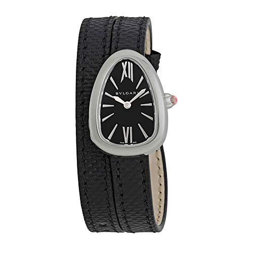 Serpenti Black Dial Ladies Double Wrap Leather Watch - Bvlgari 102782