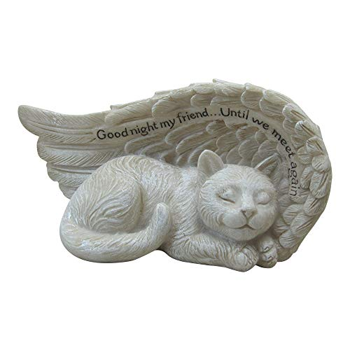 Comfy Hour Pet in Loving Memory Collection 4' Cat Peacefully Sleeping in Angel Wing Figurine Pet Statue - in Memory of My Best Friend Bereavement, Polyresin