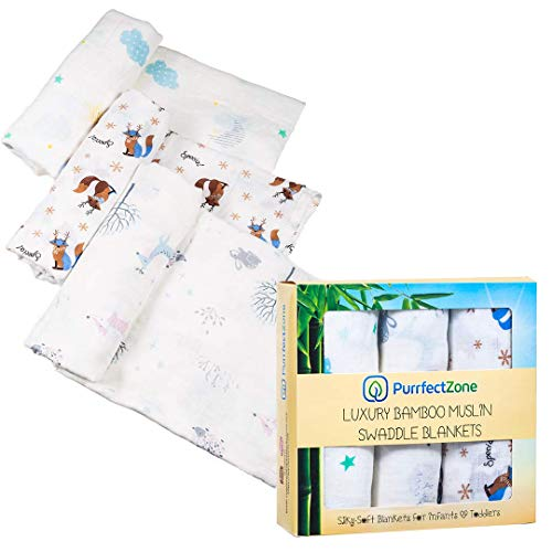 Purrfectzone Baby Swaddle Blanket Unisex Swaddle Wrap Soft Silky Bamboo Muslin Swaddle Blankets Neutral Receiving Blanket for Boys and Girls, 47 x 47 inches, Set of 3 – Moon/Fox/Deer