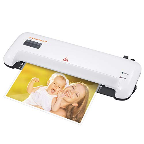 Bonsaii A4 A5 Laminator, 4-Minute Quick Warm-up, 270mm/min Speed with Hot and Cold 2 Rollers, Max 240mm(A4 Size) Width for Documents/Photos/Cards with Release Switch, White(L409-A)