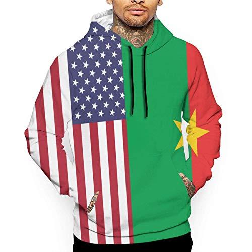DLing Sweat-Shirts 3D pour Hommes Sweat-Shirts à Capuche Drapeau américain-Drapeau National du Burkina Faso,L