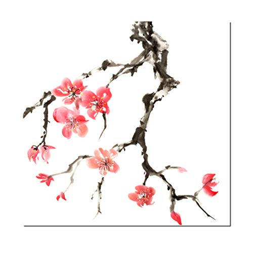 Square Canvas Wall Art Japanese Cherry Blossom Branch Illustration Modern Gallery Wrapped Home Decor Ready to Hang 12x12 inches