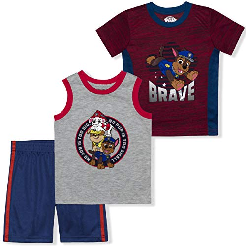 Nickelodeon Boy's 3-Pack Paw Patrol Brave Tee, Sleeveless Shirt and Mesh Short Set, Red/Blue, Size 4T