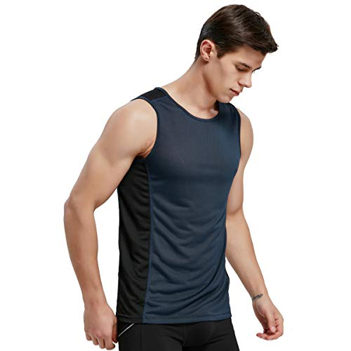 APRAW Men's Basketball Muscle Tank Top Mesh Quick Dry Fit Performance Gym Workout Sleeveless Shirts Navy