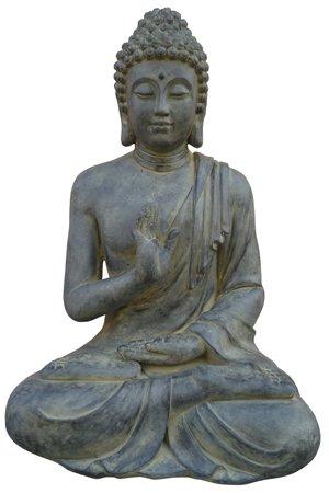 Stone-Lite - Statuette de bouddha « Justice » - résistant aux intempéries - noir - 40 cm