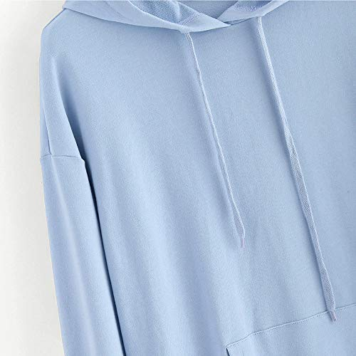 Janly Clearance Sale Women's Long Sleeve Tops, Womens Long Sleeve Heart Hoodie Sweatshirt Jumper Hooded Pullover Tops Blouse, Women Printed Blouse for Easter St Patrick's Day Gifts (Blue-XXL)