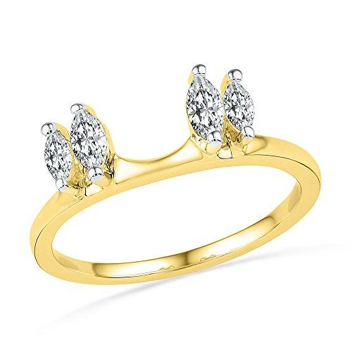 Jewels By Lux Anillo de Diamantes de Oro Amarillo de 14 kilates para Mujeres 10