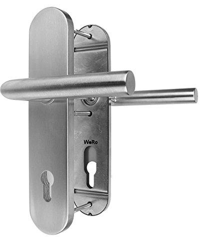 Edelstahl Schutzbeschlag ES 1 für Haustüren Drücker / Drücker
