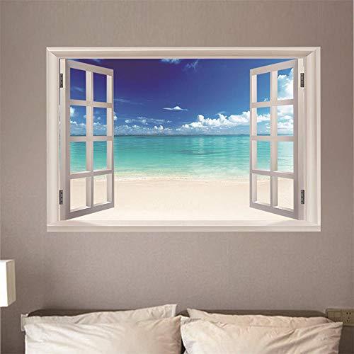 Fensterblick Leinwand Bild 3D Illusion - Fototapete - Poster - Fensterblick - Panorama Bilder - Dekoration - Seeblick,100x70cm