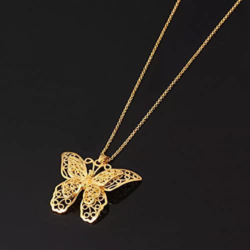 Chenfeng Colgante de Collar Collares de Cadena con Colgante de Mariposa, Collares de Mujer y niña, Color Plateado/Dorado, Mariposas, joyería, Regalos PNG de Moda Collar de la Amistad