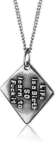 Collar de hombre con letras colgante geométrico collar de acero inoxidable collar de cadena de eslabones joyería de fiesta masculina torre de cuello