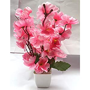 CELEBRATION Artificial Pink Cherry Blossom Plant Pot | Flower vase for Home Decoration | Flower Pot with Artificial Flowers(22CM)