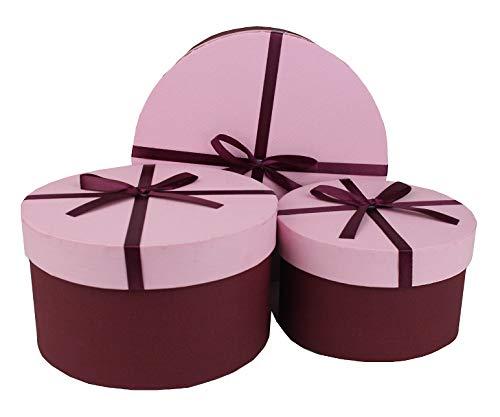 Emartbuy Set von 3 Starrer Luxus Runden Präsentation Geschenkbox, Burgundy Schachtel Mit Strukturiertem Rosa Deckel, Polka Dots Innenraum und Burgundy Dekoratives Schleife