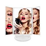 Espejo de Maquillaje con 24 Luz Led y Aumentos x1 x2 x3 Blanco, para Mesa, Sobremesa o Escritorio | Espejo Tocador Lupa Zoom con Rotación 180° Luces Intensidad Regulable Carga USB o Batería
