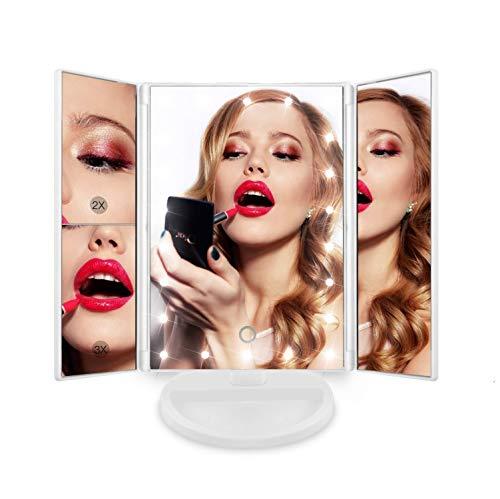 Espejo de Maquillaje con 24 Luz Led y Aumentos x1 x2 x3 Blanco, para Mesa, Sobremesa o Escritorio | Espejo Tocador Lupa Zoom con Rotacion 180° Luces Intensidad Regulable Carga USB o Bateria