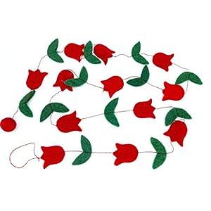 feelz Girlande Tulpen Blumen aus Filz, rot, gelb, orange, rosa, pink, Filzgirlande Filzblumen Deko – Fairtrade