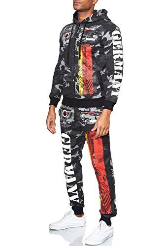 L.gonline Herren Trainingsanzug Germany | Trainings-Anzug aus 100% Baumwolle | Trainings-Jacke mit Reißverschluss | Jogging-Hose mit Tunnelzug und Zugband (XL, Antra/Camo)