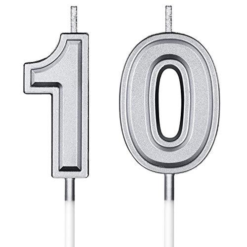10. Geburtstag Kerzen Kuchen Nummer Kerzen Alles Gute zum Geburtstag Kuchen Topper Dekorationen für Geburtstag Hochzeit Jahrestag Feier Zubehör (Silber)
