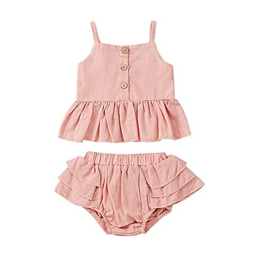 Shaohan Conjunto de ropa de verano para bebé, 2 piezas, para niña, sin mangas, camiseta con tirantes y pantalones cortos, para recién nacidos, suave verano rosa 5 años