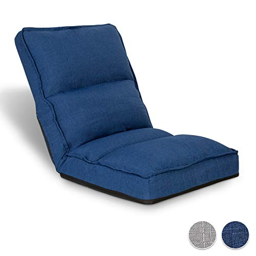 Adjustable Floor Chair with Back Support Folding Floor Sofa Lounge Chair for Adults Video Gaming Lazy Sofa Cushion Chair,Dark Blue