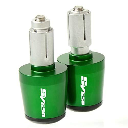 Puños de Manillar de Motocicleta CNC 22mm Handlebar Grips Handle Bar Cap Tapones End para Suzuki SV650 / S SV 650 / SV650 SV650S SFV650 1999-2016 Aplicabilidad Duradera y Fuerte (Color : Green)