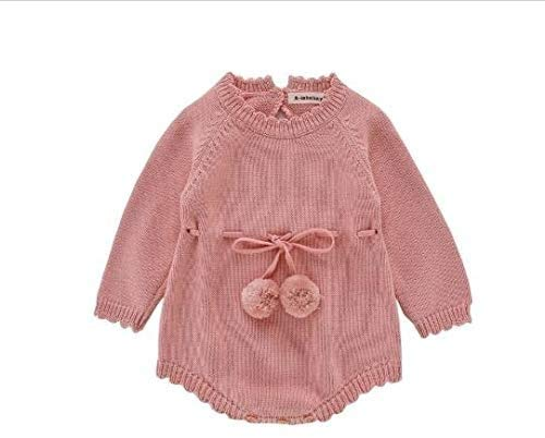 Kleren van de Baby, de herfst Vrouw Baby's met lange mouwen gebreide wollen Jumpsuit Ribbon Romper, Maat: 66cm, Newborn Essentials aijia