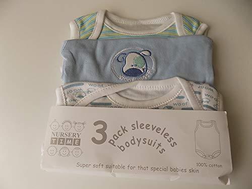 3 Pack Sleeveless Env Neck Cotton Bodysuit Colour Blue 0 3mth Woof Woof Motif