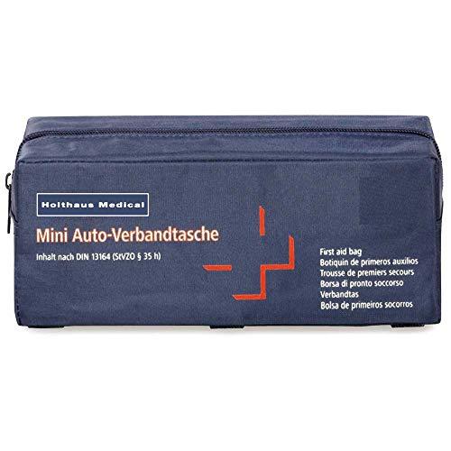 Holthaus Medical mini Verbandtasche fürs Auto, KFZ Verbandskasten Notfall Erste-Hilfe, 22x8,5x8cm, blau