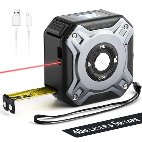 OUBEL Télémètre Laser Numérique 2 en 1, 40m Télémètre laser et Mètres à Ruban 5m, Télémètre laser numérique pour la mesure de la longueur/zone/du volume/pythagore, Chargement USB