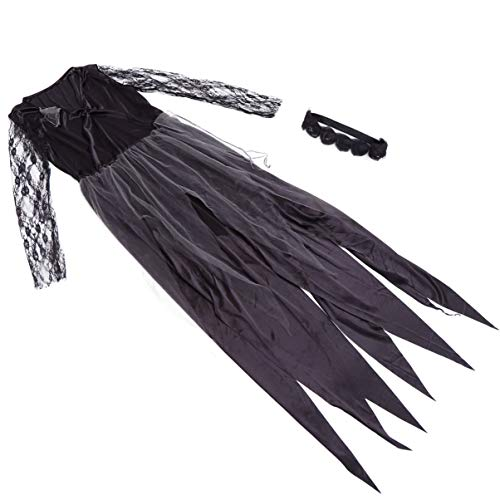 TomaiBaby Vestido de noiva de vampiro, fantasia de noiva fantasma, vestido de rainha gótica, vestido de demônio, fantasia de Halloween com faixa de cabeça, acessórios de cosplay de Halloween (como mostrado)