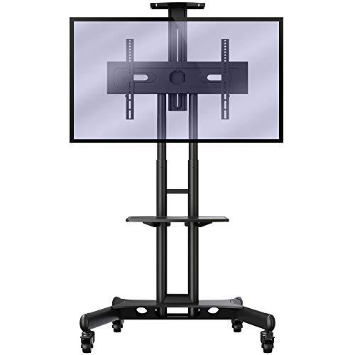 Invision TV Ständer mit Rollen Universal Mobil Wagen Fernsehständer mit Höhenverstellbar Ultra Stabil Halterung Fernsehtisch für 32-65 Zoll VESA 600b x 400h [GT1200 ScreenStation]