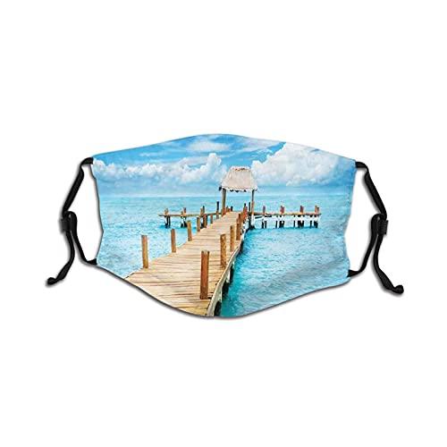 Máscara cómoda de carbón activado a prueba de viento Bungalow en mar transparente, destino de viaje, playa, vista exótica, a prueba de viento, decoraciones faciales para niños