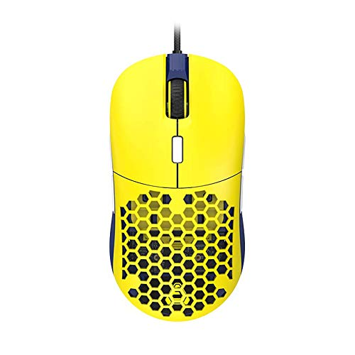 AJAZZ F15 Amber Gaming Mouse with Replaceable Honeycomb Shell, RGB Backlit, 16000 DPI, Programmable 8 Buttons, Symmetrical Shape with Side Buttons on Both Sides for Left and Right Hands, Yellow