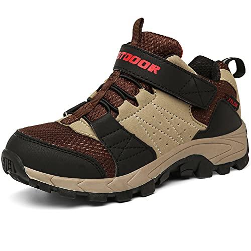 Zapatillas de Senderismo para niños Zapatos de Niños Botas de Montaña Deportiva al Aire Libre Senderismo Calzado de Trekking,Marrón,38