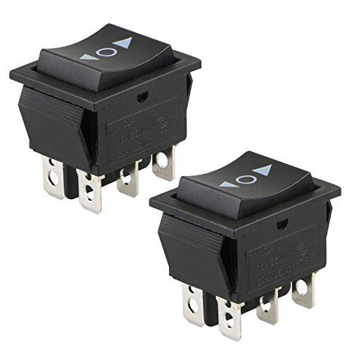 2 Pack interruptores basculantes momentáneos de 6 pines DPDT de 20 amperios, doble polo, doble tiro, para coche, motocicleta, barco u otros electrodomésticos