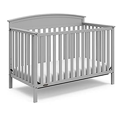 Graco Benton 4-in-1 Convertible Crib (Pebble Gray) Solid Pine and Wood Product Construction, Converts to Toddler Bed, Day Bed, and Full Size Bed (Mattress Not Included) from Storkcraft