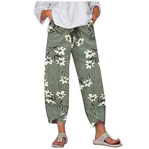 VCAOKF Pantalones informales para mujer, sueltos, estampados, para verano, moda, de algodón, lino, bolsillos, holgados, informales, elásticos, con cordón y estampado de flores verde S