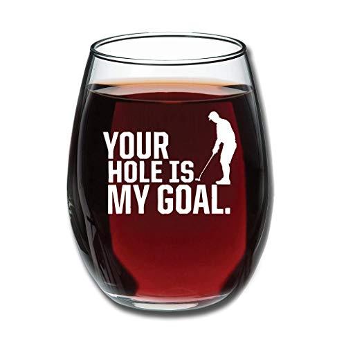 Tentenentent Good-Handheld Your Hole My Goal Golf Golf Weinglas Upgrade Gravur Milchglas - Golfer Neuheit Eventdekoration White 350ml