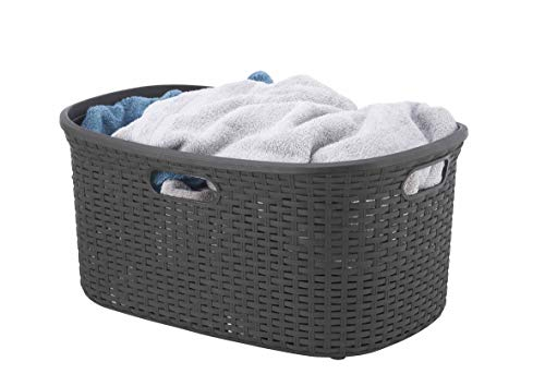 Wicker Laundry Basket Plastic With Cutout Handles 50 Liter Brown Curved Bin To Keep Dirty Cloths 140 Bushel By Superio