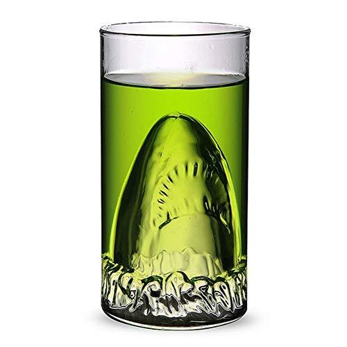 HXAZGB Lustige Hai Schnapsglas Tasse Doppelschicht Glas Transparent Home Bar Hai Becher Bier Wodka Whisky Glas TrinkbecherGeschenke