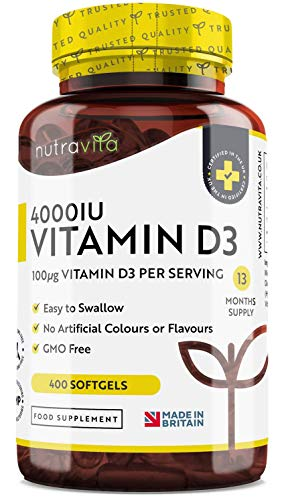 Vitamin D 4000 IU - 365+ Day Supply Easy to Swallow Softgels - Vitamin D3 Cholecalciferol - Manufactured in The UK by Nutravita